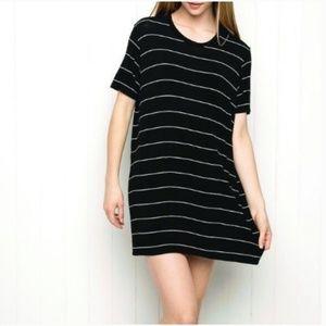 Brandy Melville Black striped T-shirt dress